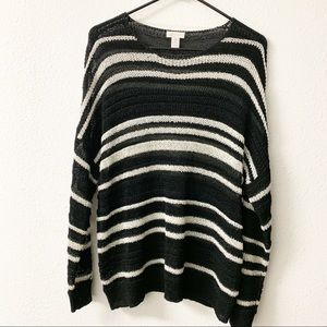Chico's open weave black and white knit sweater.